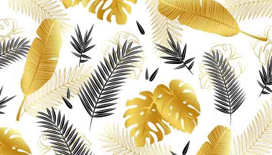 黑金色热带树叶矢量素材(EPS/AI)