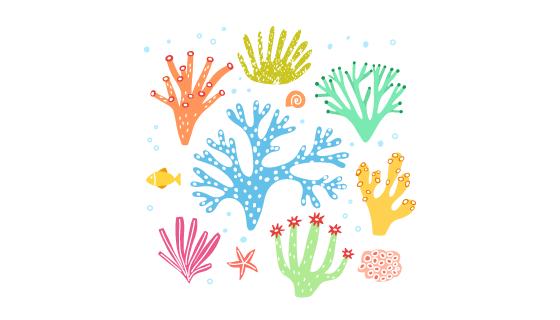 手绘彩色珊瑚矢量素材(EPS/AI/PNG)