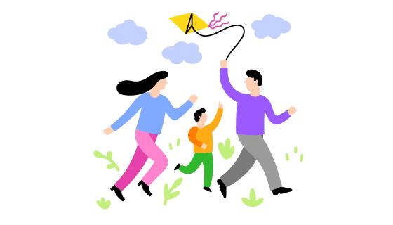 手绘风格一家人放风筝矢量素材(EPS/AI/PNG)