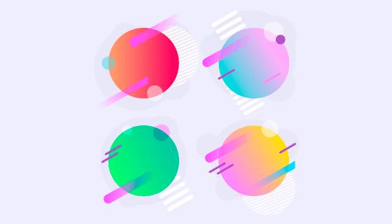 抽象多彩气泡矢量素材(EPS/AI/PNG)