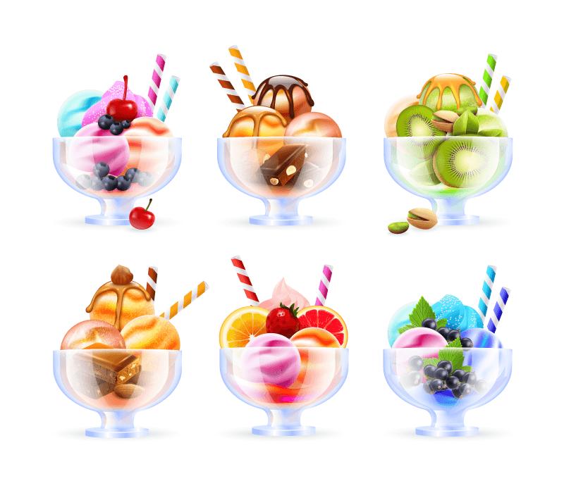 美味的水果巧克力冰淇淋矢量素材(EPS)