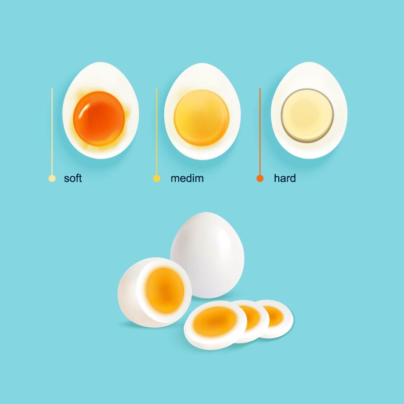 水煮蛋的三个阶段矢量素材(EPS)