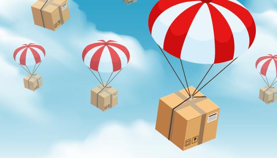 降落伞投递包裹矢量素材(EPS)