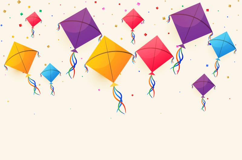 五颜六色的风筝矢量素材(EPS)