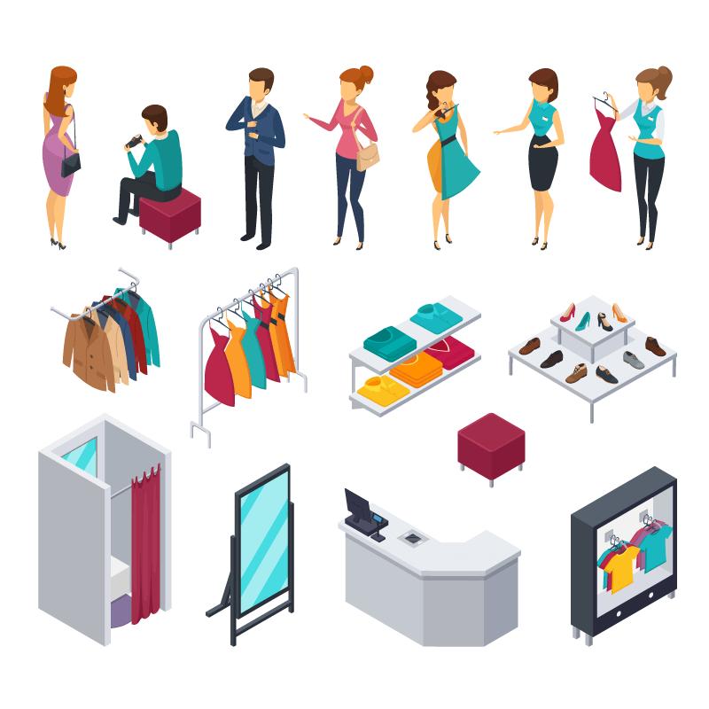 服装店和顾客设计矢量素材(EPS/免扣PNG)