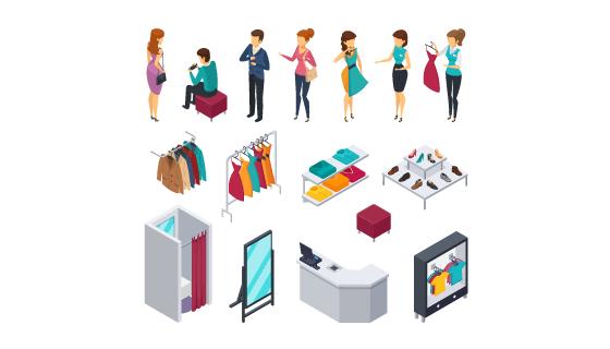 服装店和顾客设计矢量素材(EPS/PNG)