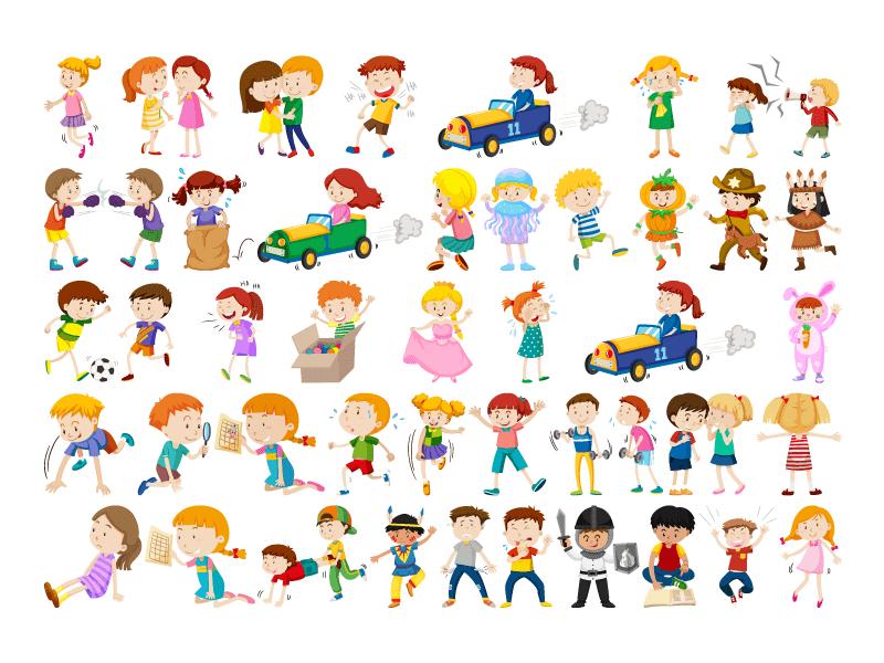 快乐可爱的儿童矢量素材(EPS/免扣PNG)