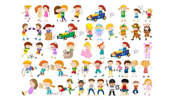 快乐可爱的儿童矢量素材(EPS/PNG)
