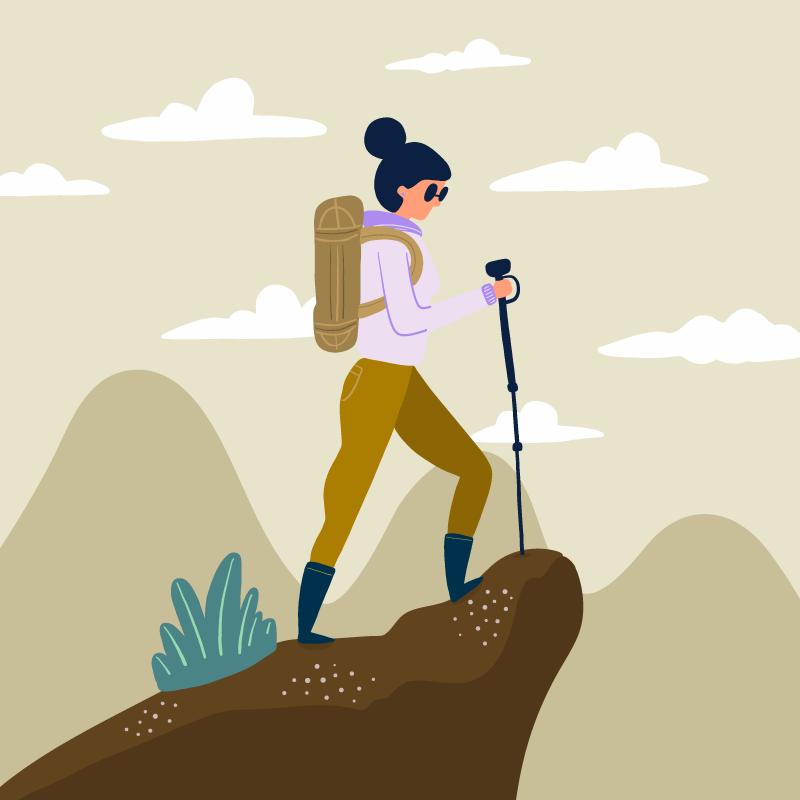 手绘探险家登山矢量素材(EPS/AI)