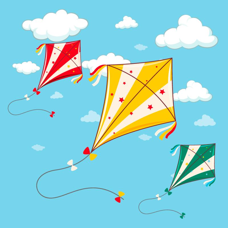 手绘风筝飞扬在蓝天矢量素材(EPS)