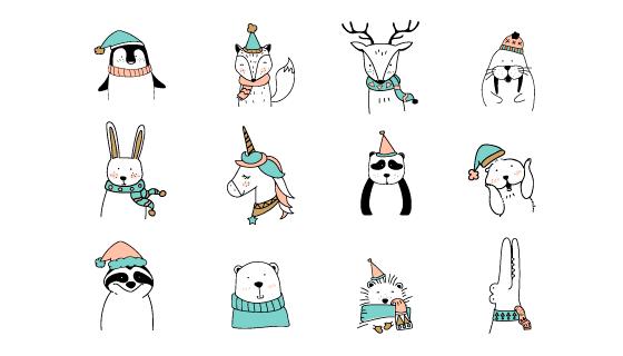 手绘各式各样的动物矢量素材(EPS/PNG)