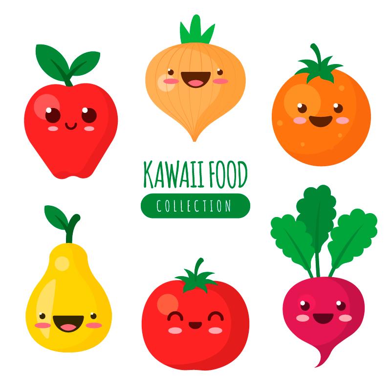 可爱的蔬菜水果矢量素材(EPS/AI/免扣PNG)