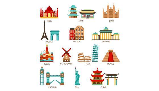 各国标志性建筑图标矢量素材(EPS/PNG)