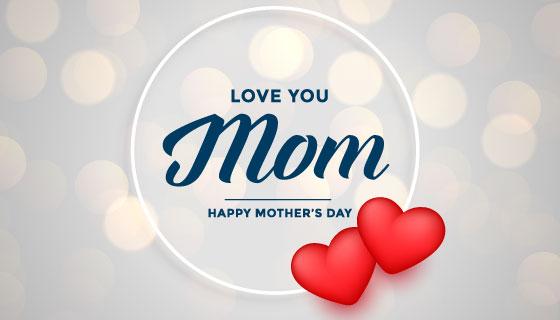 可爱爱心设计母亲节背景矢量素材(EPS)