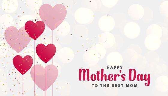爱心气球设计母亲节背景矢量素材(EPS)
