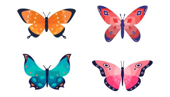 扁平风格的漂亮蝴蝶矢量素材(AI/EPS/PNG)
