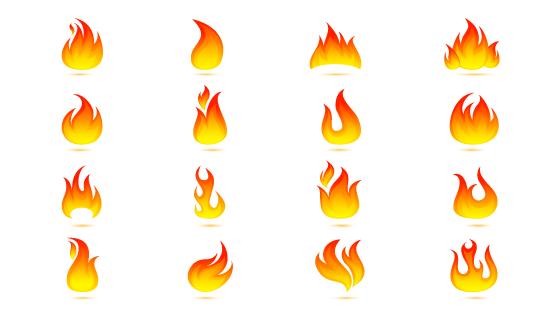 扁平风格火焰火苗图标矢量素材(eps)