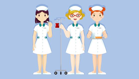 手绘护士团队矢量素材(AI/EPS/PNG)