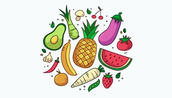 手绘新鲜蔬菜和水果矢量素材(AI/EPS/PNG)