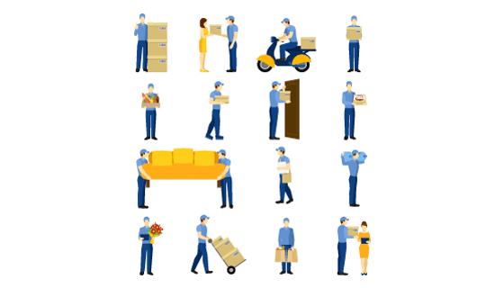 勤劳的送货员矢量素材(EPS/PNG)