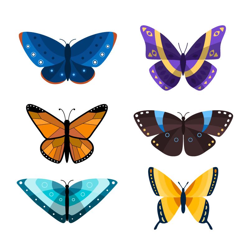 扁平风格的漂亮蝴蝶矢量素材(AI/EPS/免扣PNG)