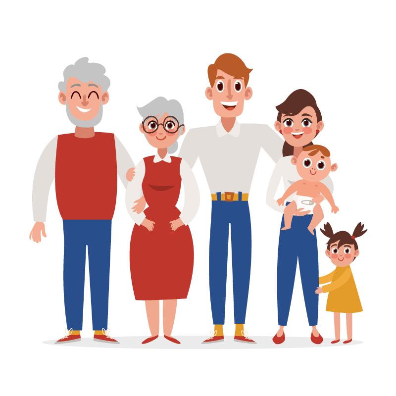 扁平风格六口之家全家福矢量素材(AI/EPS)