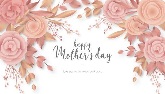 优雅花卉设计母亲节背景矢量素材(EPS)