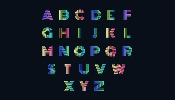 创意彩色渐变字母矢量素材(AI/EPS/PNG)