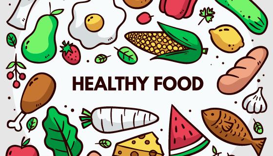 手绘健康食物矢量素材(AI/EPS/PNG)