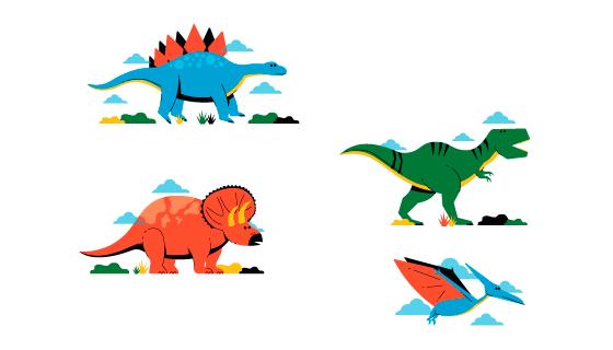 扁平卡通风格恐龙矢量素材(AI/EPS/PNG)