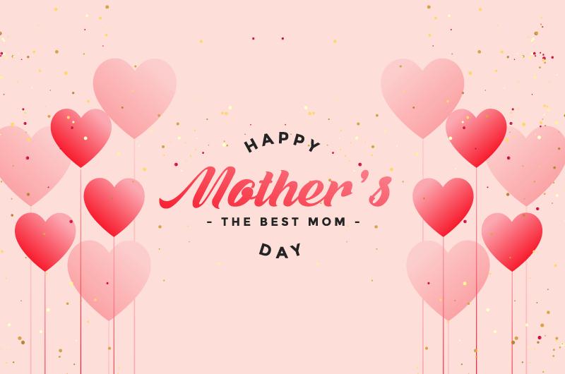 爱心气球设计母亲节快乐矢量素材(eps)