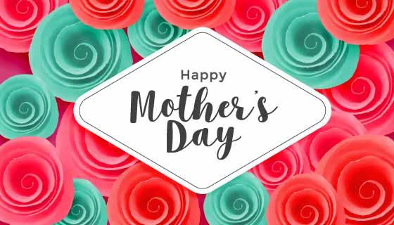 创意漂亮花束母亲节快乐矢量素材(EPS)