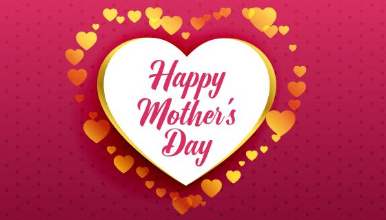 创意爱心设计母亲节快乐矢量素材(EPS)