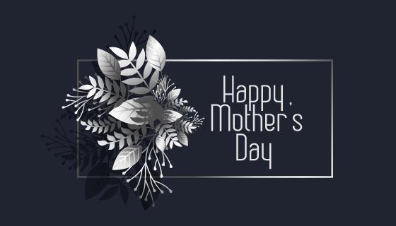 黑白花卉设计母亲节快乐矢量素材(EPS)