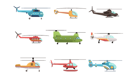 各种各样的直升飞机矢量素材(EPS)