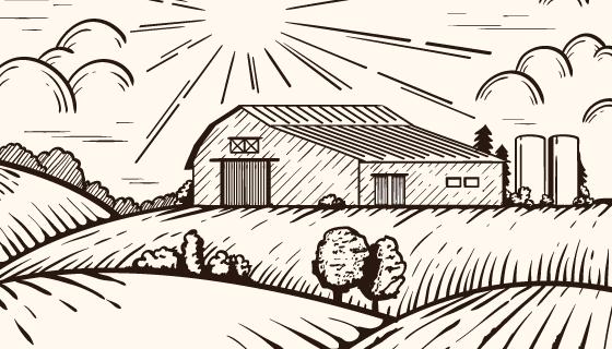 手绘风格农场景观矢量素材(AI/EPS)
