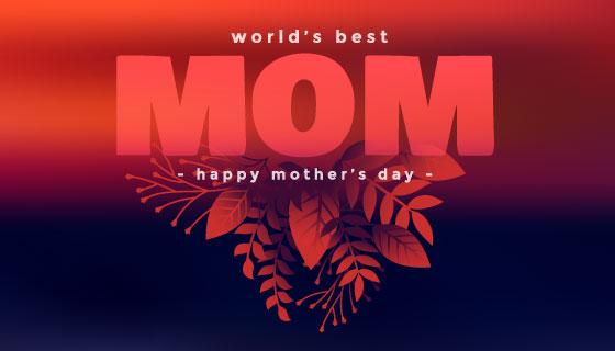 红黑色设计母亲节快乐矢量素材(EPS)