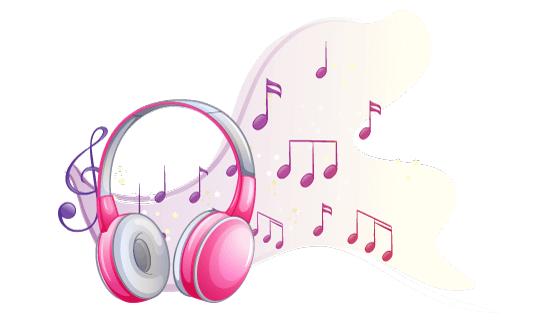 粉色耳机和跳动的音符矢量素材(EPS)