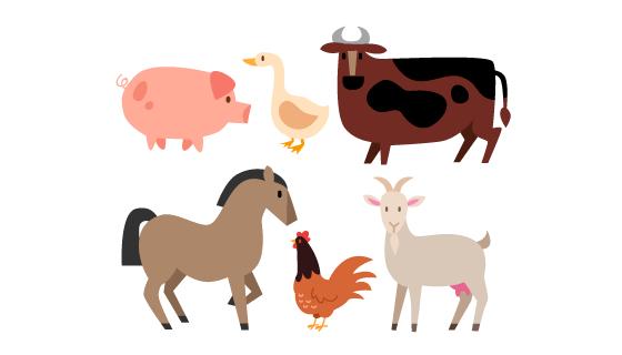 可爱的农场动物矢量素材(AI/EPS/PNG)
