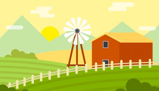 扁平农场景观矢量素材(AI/EPS)