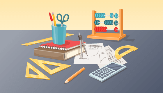 卡通风格数学学习工具矢量素材(AI/EPS)