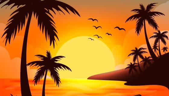 夏日海滩日落景观矢量素材(AI/EPS)