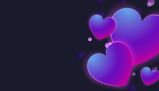 闪亮渐变的爱心背景矢量素材(EPS)