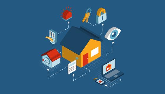 智能家居安全系统设计矢量素材(EPS/PNG)