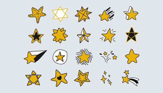 涂鸦风格星星集合矢量素材(EPS/PNG)
