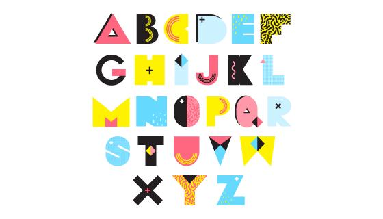 创意孟菲斯风格字母矢量素材(EPS/PNG)