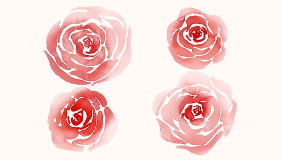 红色水彩玫瑰矢量素材(EPS/AI)