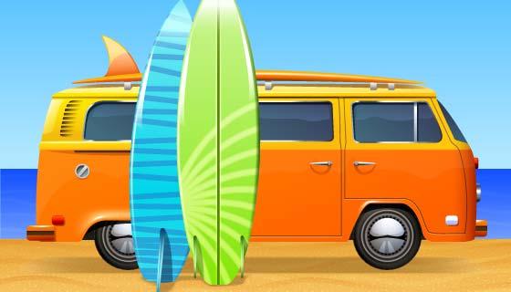 带冲浪板的复古巴士矢量素材(EPS)