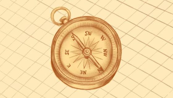 手绘指南针矢量素材(EPS/AI)