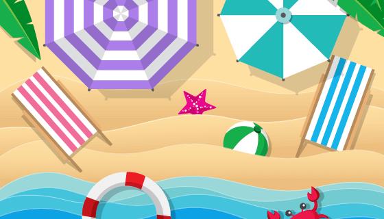 夏天海滩俯视视角矢量素材(AI/EPS)